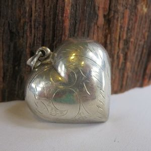Large Sterling Silver Etched Hollow Heart Pendant